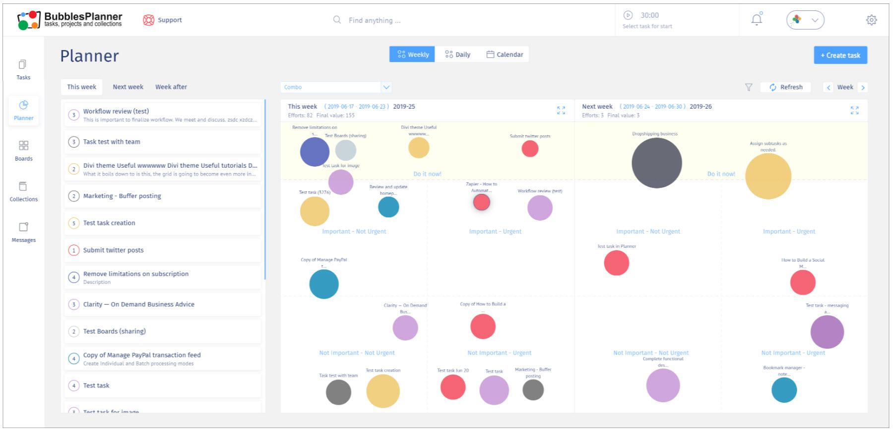 online content organization using task manager BubblesPlanner