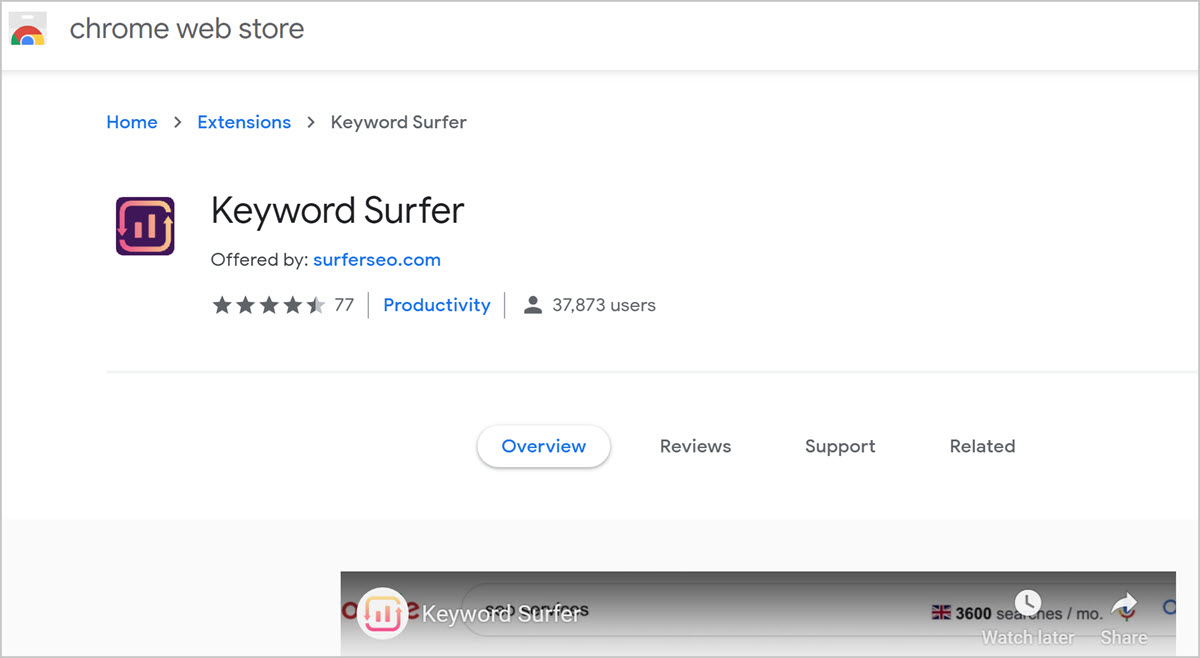 Keyword surfer - free keyword research tools for seo blog posts