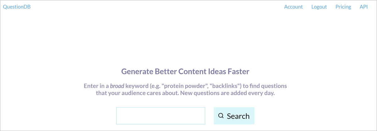 QuestionDB - free keyword research tools for seo blog posts