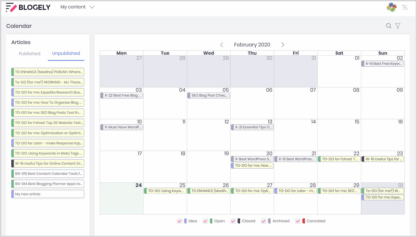 online content organization and content creation calendar